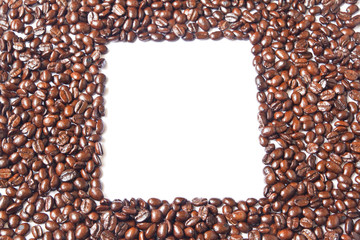 The white square in many brown coffee beans for background