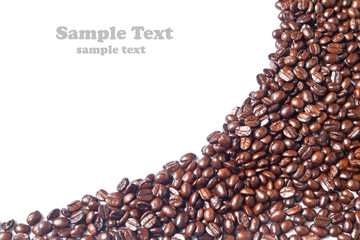 Many brown coffee beans for background