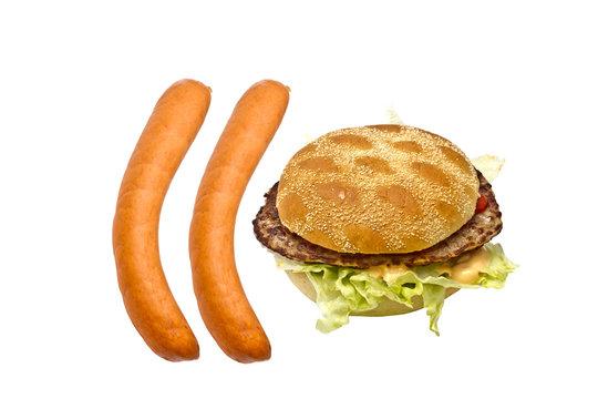 Delicious hamburger and sausages