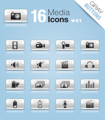 Gray Buttons - Media Icons 01