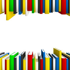 Book rows forming a copy-space frame for educational or science