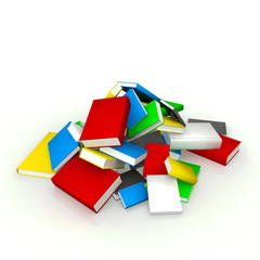 Heap of books on white background
