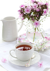 Cup of tea and flowers