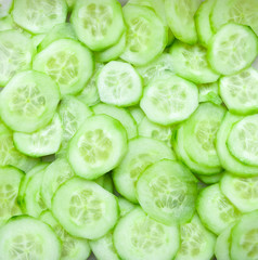 A lot of cucumber slices