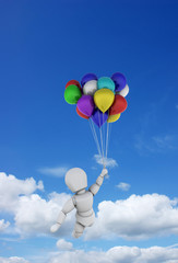 Person in blue sky with balloons
