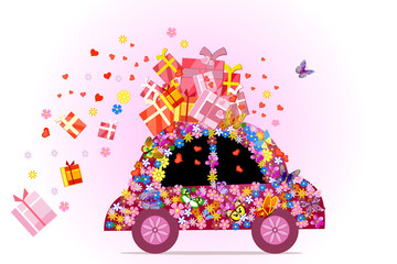 car full of gifts