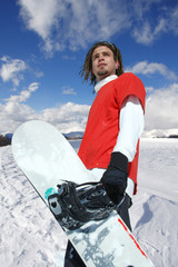 Wall Mural - man with snowboard