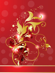 abstract golden glossy red floral