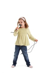 Cute girl playing with microphone