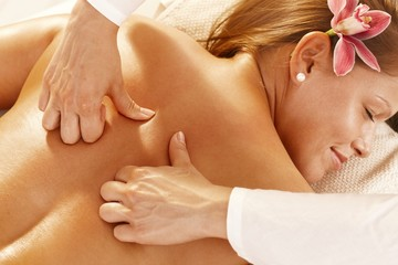 Closeup of deep tissue massage