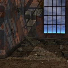 magic window in a fantasy setting. 3D rendering of a fantasy