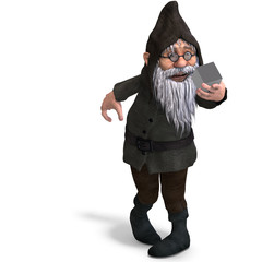 cute and funny cartoon garden gnome.3D rendering with clipping