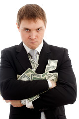 Angry man with many dollars.