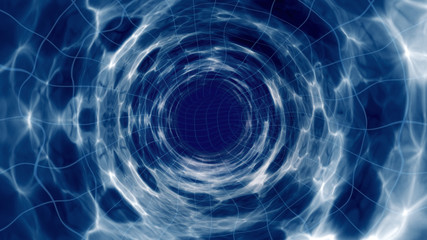 Space model of a wormhole tunnel as abstract illustration