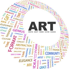ART. Word collage on white background.