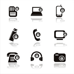 set of 9 technology with locks icons