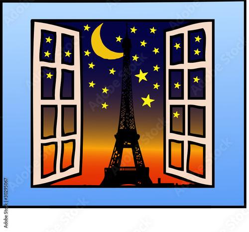 Finestra aperta su parigi immagini e vettoriali royalty for Disegno di finestra aperta
