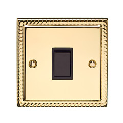 Gold Light Switch Isolated on White Background