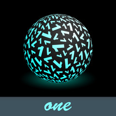 ONE. Globe with number mix. Vector illustration.