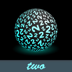 TWO. Globe with number mix. Vector illustration.