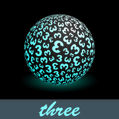 THREE. Globe with number mix. Vector illustration.