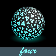 FOUR. Globe with number mix. Vector illustration.