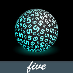 FIVE. Globe with number mix. Vector illustration.