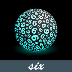 SIX. Globe with number mix. Vector illustration.