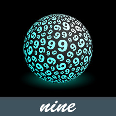 NINE. Globe with number mix. Vector illustration.