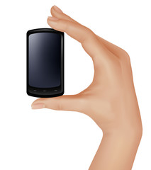 Hand holding smart phone.  Vector illustration.