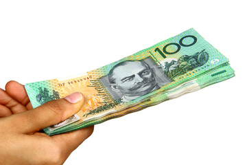 Australian Currency isolated on white.