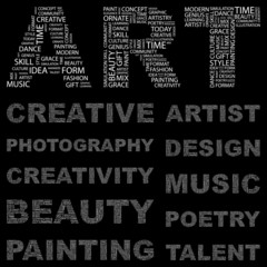 ART. Vector word collection. Wordcloud illustration.