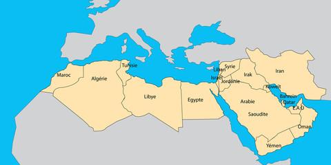 cartes des pays arabes