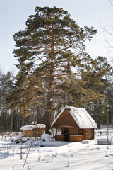 Cabin in snow in forest