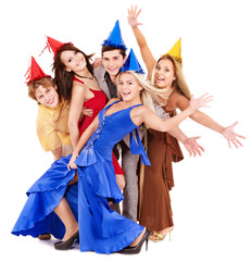Group of young people in party hat.