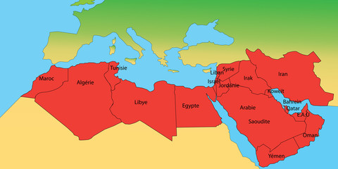 carte pays arabes