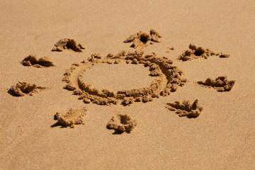 Zeichen im Strand im Sand