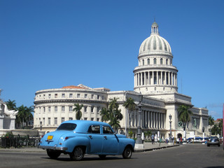 Garden Poster Cars from Cuba Street view of Capitolio