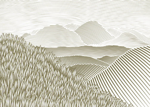 Woodcut Mountain Landscape