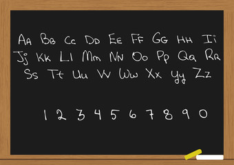 letters and numbers in chalkboard