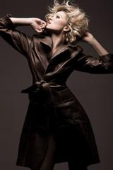 Photo of a beauty woman wearing coat