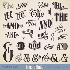vector set: Thes and Ands - calligraphic design elements