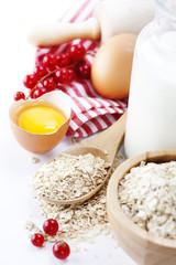 Fresh ingredients for oatmeal cookies