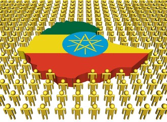 Ethiopia map flag surrounded by many people illustration