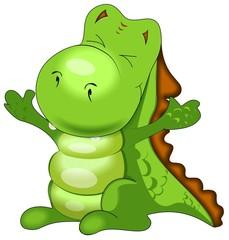 green happy dinosaur