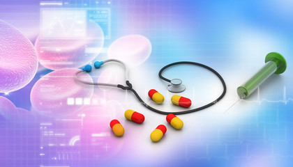 Medicines in abstract background.