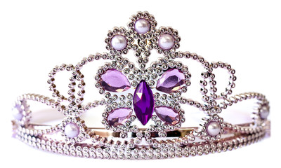 Silver color tiara with purple and lilac stones and pearls