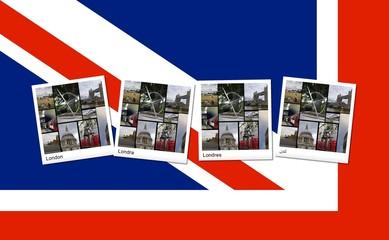 Collage di Londra sulla bandiera inglese