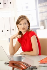 Businesswoman in red