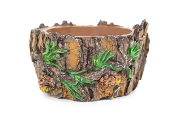 brown flowerpot, shape like conifer with pines, isolated